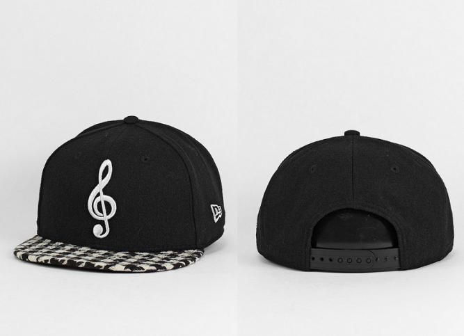 Snapback-Cap Houndstooth Trble Clef black offwhite