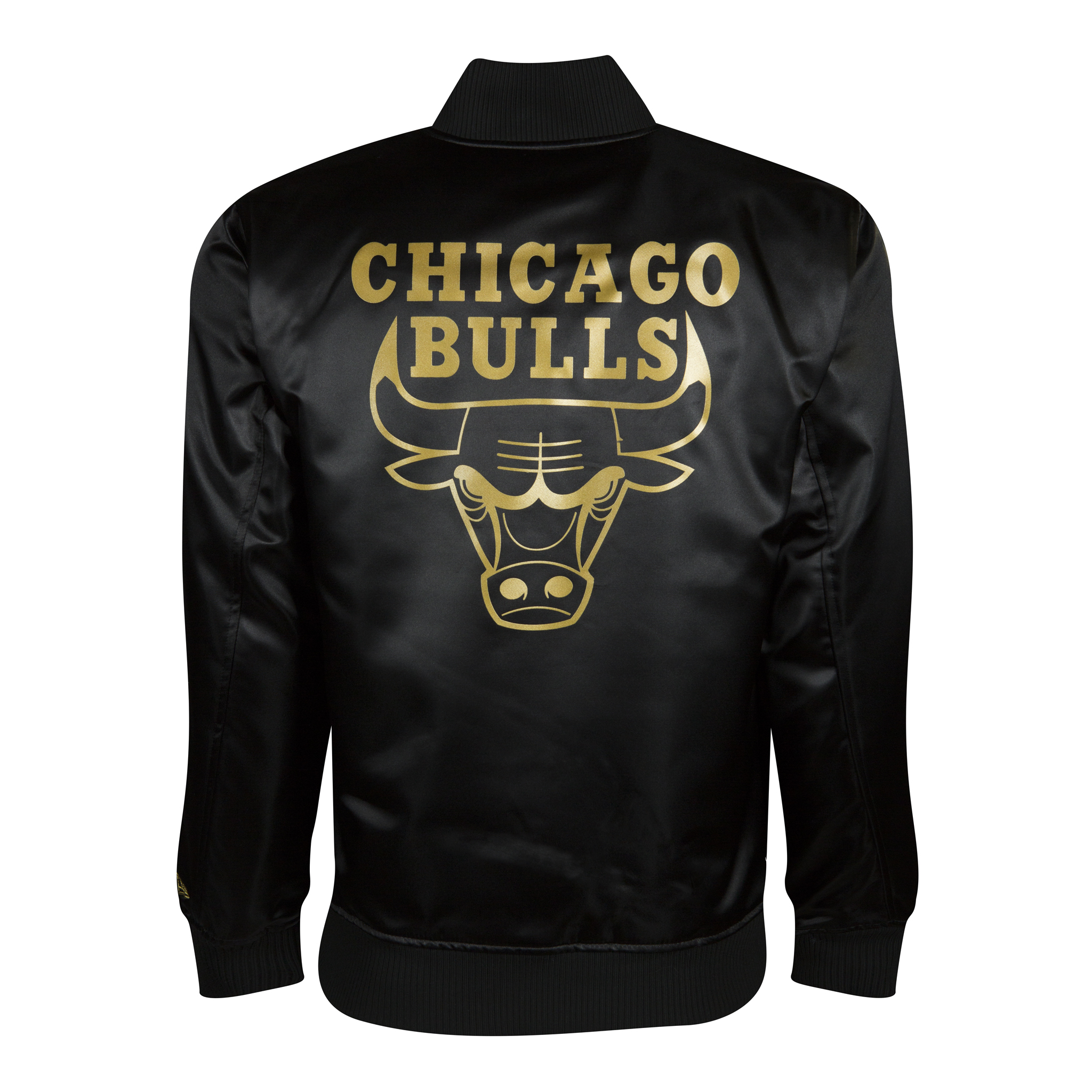 CHICAGO BULLS BLACK GOLD SATEEN VARSITY JACKET REVERSE